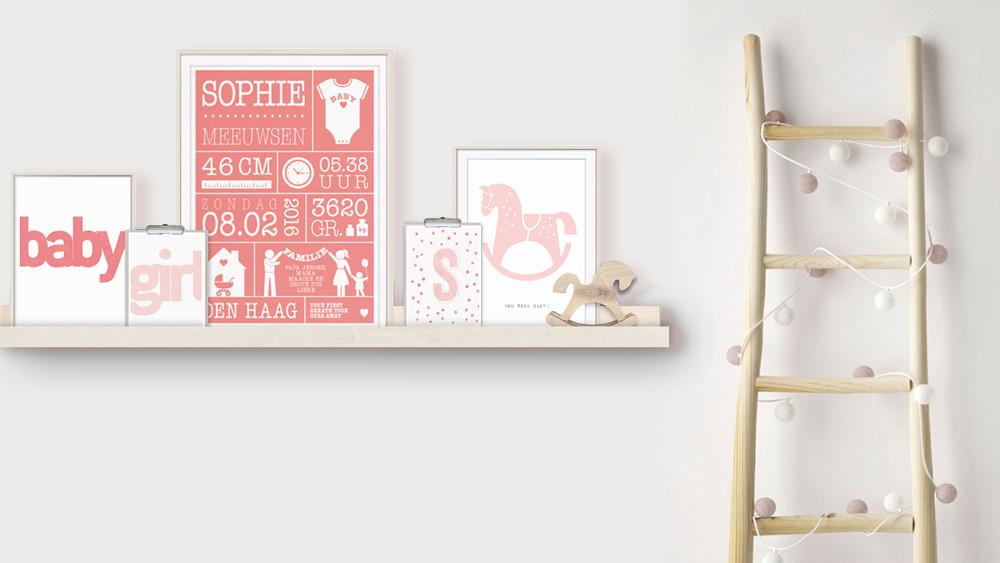 Babykamer met gepersonaliseerde Poster collage | Roze | Printcandy
