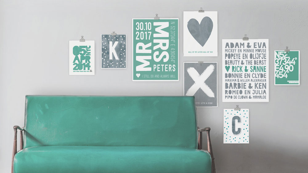 Collage posters met eigen tekst | Groen | Printcandy