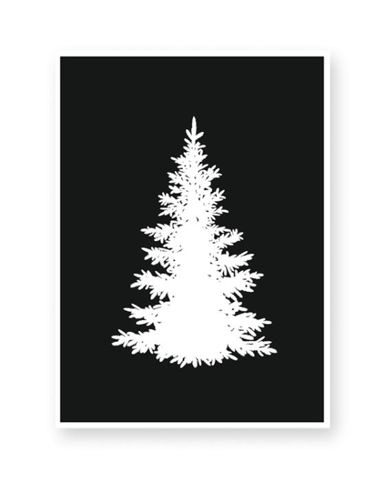 zwart-wit kerst poster dennenboom kerstboom boom
