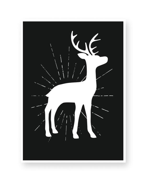 Zwart-Wit Kerst poster - Hertje