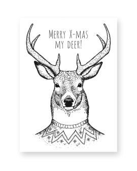 Zwart-Wit Kerstposters - Merry x-mas my deer