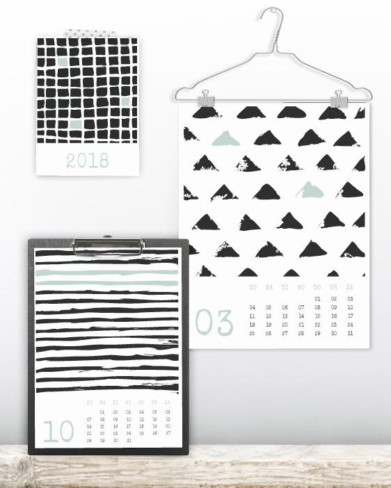 Kalender zwart-wit 2018 metgrafische handgetekende patronen