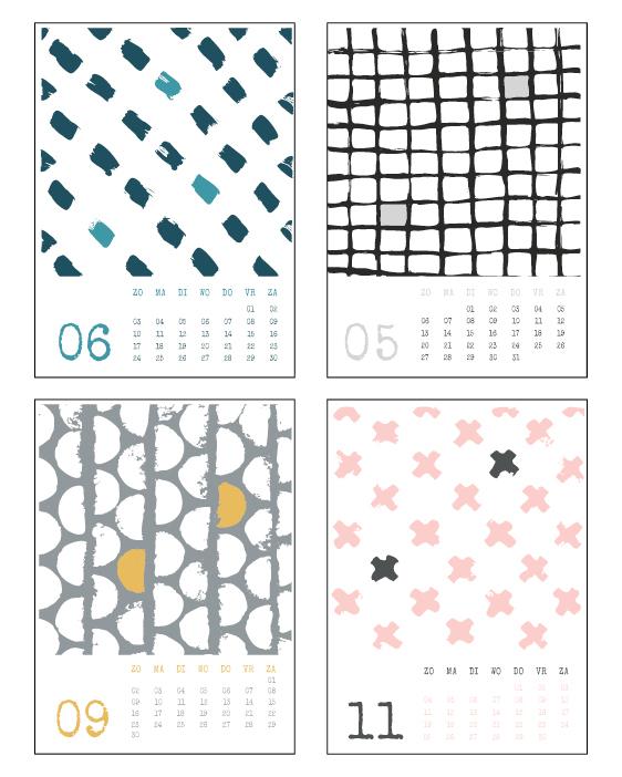 Hippe jaar Kalender zwart-wit 2018 met abstrakte handgetekende patronen - monochroom met kleuraccent