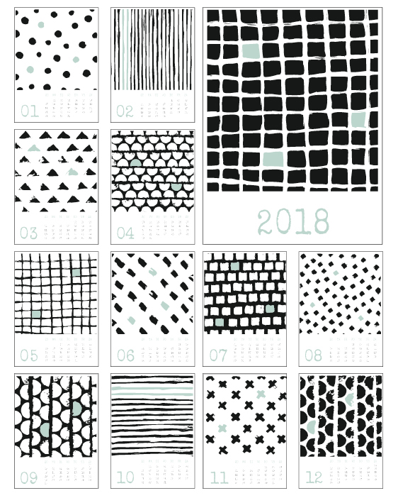 Hippe 2018 Kalender zwart-wit metabstrakte handgetekende patronen inzwart-wit