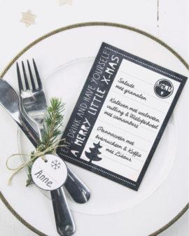 Gratis Printable Kerst Menu kaartjes   DIY Kerst Decoratie   Zwart-Wit   Printcandy