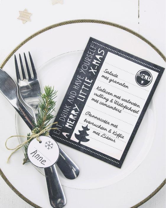 Kerst printables - zwart-wit - Menu Kaartjes