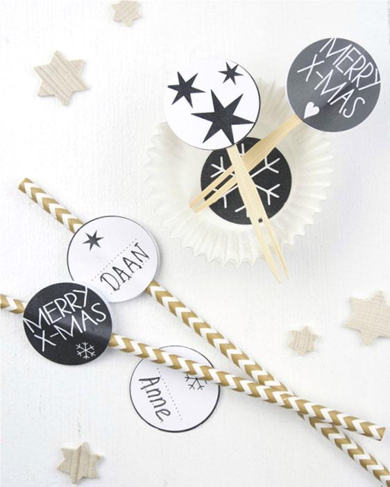 Kerst printables - zwart-wit - Food Cupcake Toppers