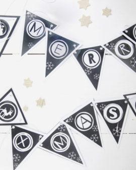 Gratis Printable Kerst Banner   DIY Kerst Deco   Zwart-Wit   Printcandy