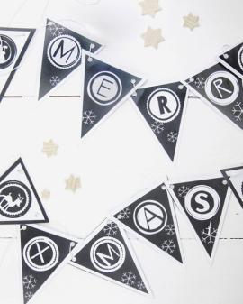 Kerst printables - Printcandy - zwart-wit - Vlaggetjes - Banner