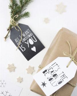 Gratis Printable Kerst Labels   DIY Kerst Decoratie   Zwart-Wit   Printcandy