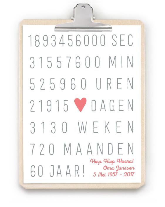 Jubileum Print met Klembord - Origineel en persoonlijk huwelijkscadeau - Trouwposter met houten klembord - Zelf poster maken bij printcandy.nl