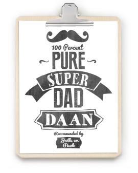 Papa-print met Klembord - zwart-wit gepersonaliseerde poster voor vaderdag - zelf online poster maken bij printcandy.nl