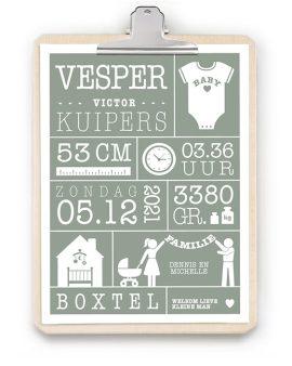 Geboorteposter met Klembord - Geboorteposter in roze voor meisje met houten klembord - online zelf poster maken bij printcandy.nl