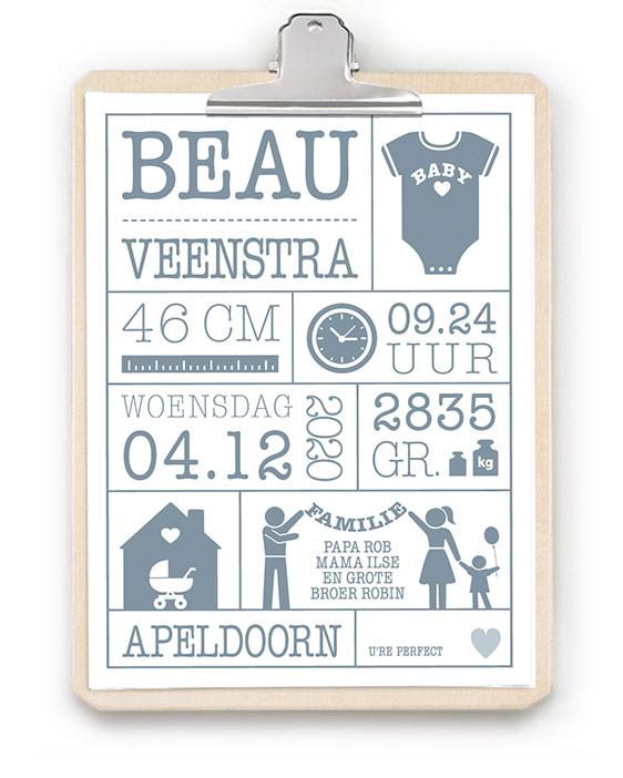 Geboorteposter met Klembord - Geboorteposter in zwart wit met houten klembord - Zelf poster maken bij printcandy.nl