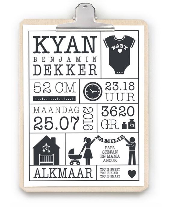 Geboorteposter met Klembord - Zwart-wit Baby geboorteposter met klembord van hout- Online Poster zelf maken bij printcandy.nl