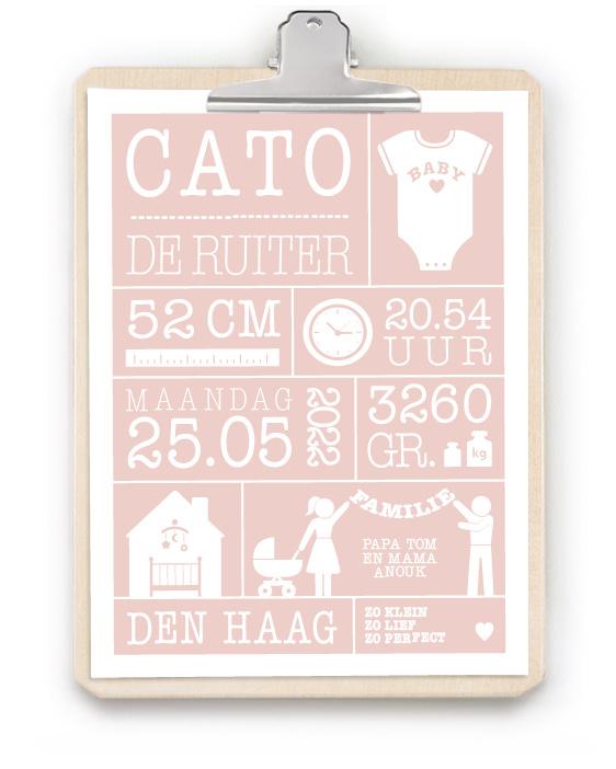 Geboorteposter met Klembord - Geboorteposter in wit met blauw voor jongetje met houten klembord - online zelf poster maken bij printcandy.nl