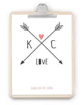 Love Print met klembord - origineel persoonlijk cadeau -Trouwposter klembord hout - Zelf poster maken bij printcandy.nl