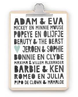Love Print met klembord - origineel persoonlijk cadeau bruiloft -Trouwposter klembord hout - Online posters maken bij printcandy.nl