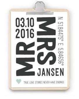 Love Print met klembord - origineel persoonlijk cadeau bruiloft -Trouwposter klembord hout - Zelf posters maken bij printcandy.nl