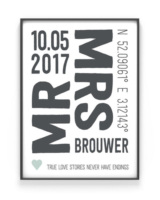 Love Print - Poster Mr & Mrs - Gepersonaliseerde trouwposter - Zwart-wit