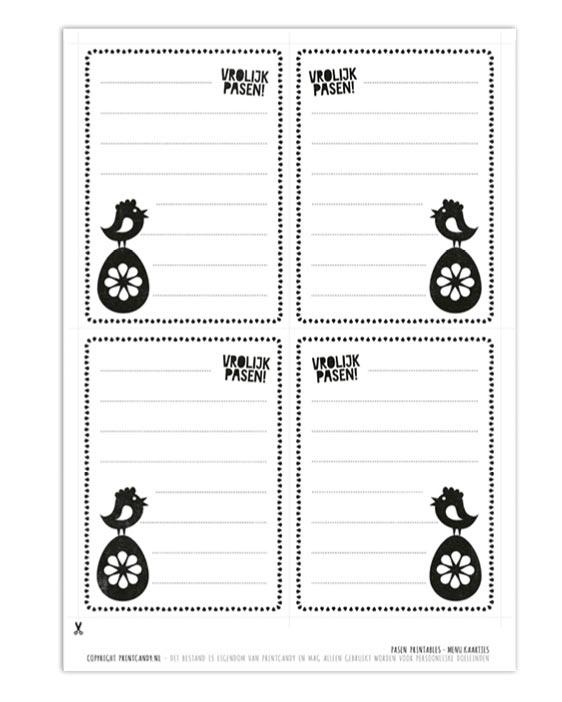 Gratis Pasen printables - Diner en Buffet - Menu kaarten