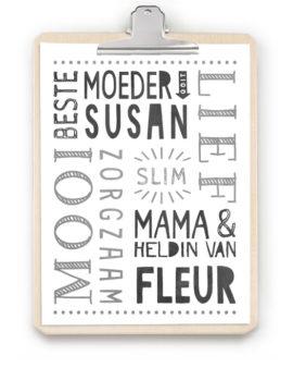 Cadeau Moederdag - gepersonaliseerde poster met Klembord hout