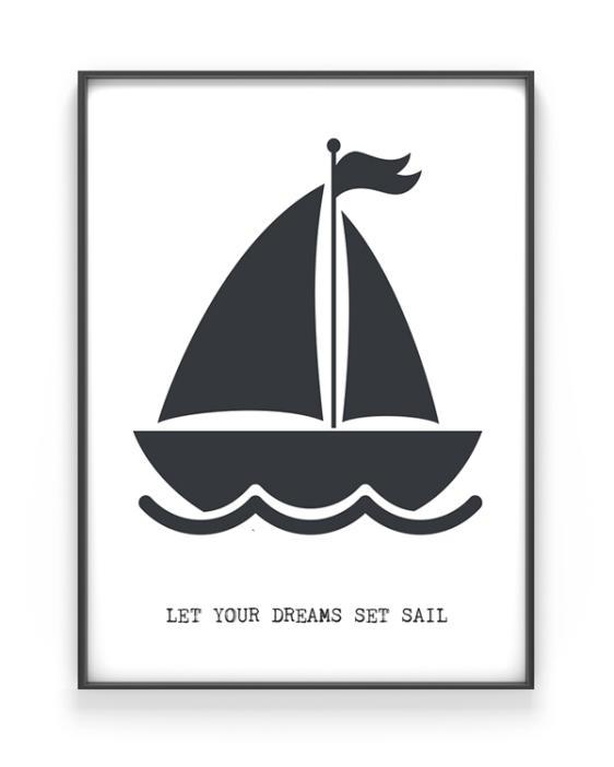 Bootje Varen Poster met Zeilboot van PrintCandy. Online posters maken met eigen tekst in zwart-wit of met kleur, bijvoorbeeld in mint of met oker-geel
