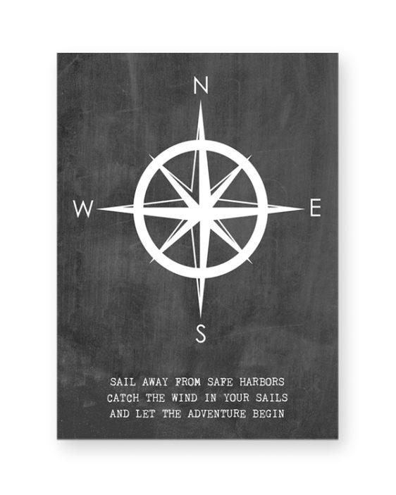 Gepersonaliseerde poster met kompas van PrintCandy. Online posters maken met eigen tekst in zwart-wit of met kleur, bijvoorbeeld in mint of met oker-geel