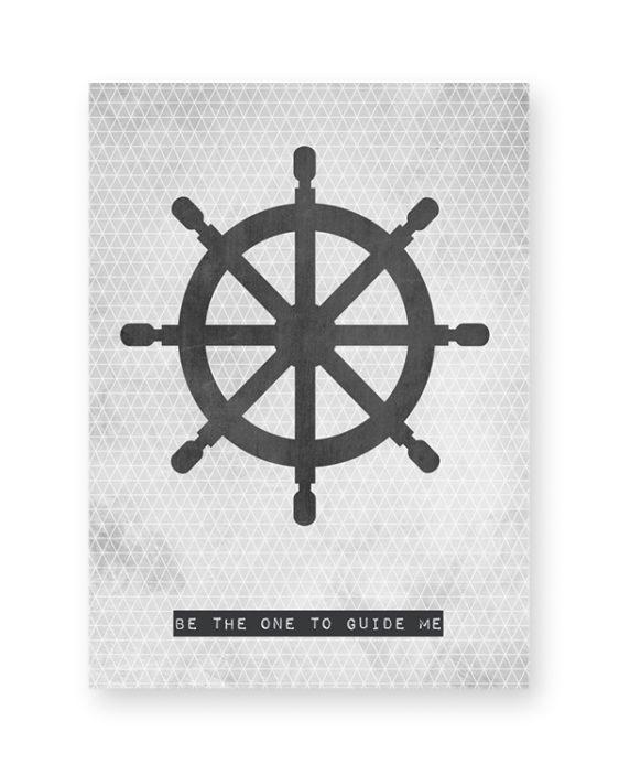 Maritiem poster met Roer-Boot-Stuur. Online posters maken met eigen tekst in zwart-wit of met kleur, bijvoorbeeld in mint of met oker-geel