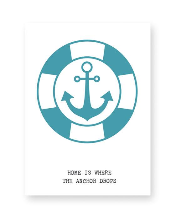 Bootje varen Poster met Anker van PrintCandy. Online posters maken met eigen tekst in zwart-wit of met kleur, bijvoorbeeld in mint of met oker-geel