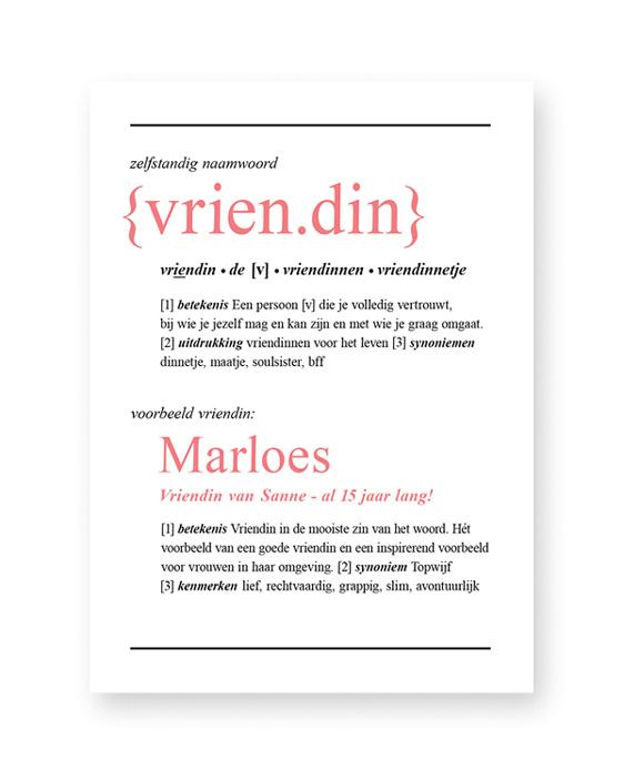 Woordenboek Poster Gepersonaliseerd met Naam - Woord defenitie Vriendin