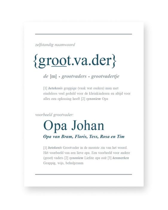 Woordenboek Poster Gepersonaliseerd met Naam - Woord defenitie Opa