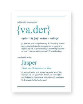 Woordenboek Poster Gepersonaliseerd met Naam - Woord defenitie Vader