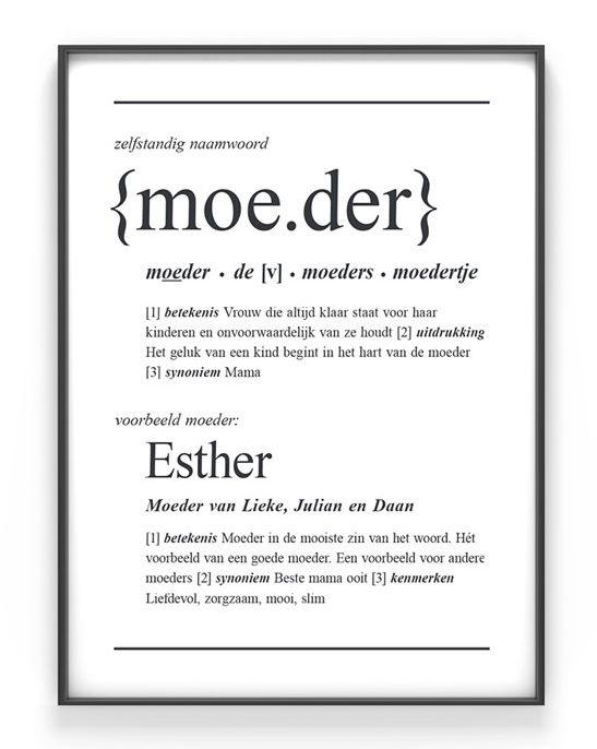 Gepersonaliseerd moederdag cadeau - Woordenboek poster Moeder met namen van mama en kinderen