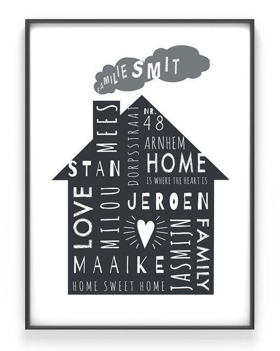 Top 10 Mooiste Moederdag Cadeaus - Gepersonaliseerde Home-Sweet-Home Poster - Family Print met namen