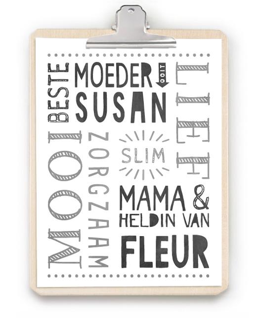 Top 10 Mooiste Moederdag Cadeaus | Gepersonaliseerde Poster + Klembord hout | Printcandy