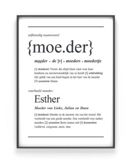 Woordenboek Poster Gepersonaliseerd met Naam | Woord defenitie Moeder | Printcandy