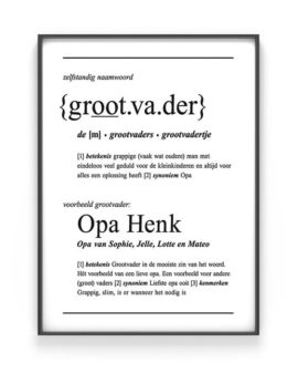 Woordenboek Poster Gepersonaliseerd met Naam - Woord definitie Vader