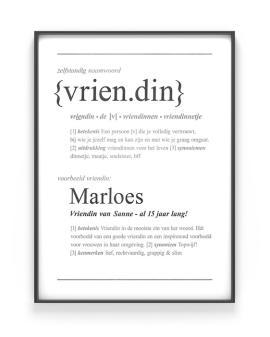 Woordenboek Poster Gepersonaliseerd met Naam | Woord defenitie Vriendin | Printcandy