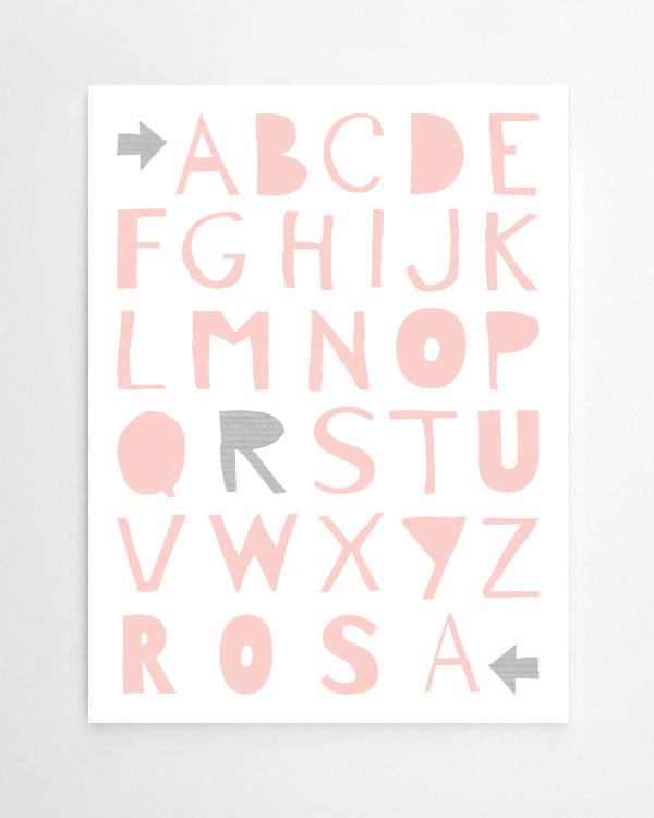 gepersonaliseerde alfabet poster met eigen naam