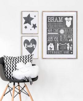 Geboorteposter bestellen - monochrome zwart wit baby posters - Printcandy