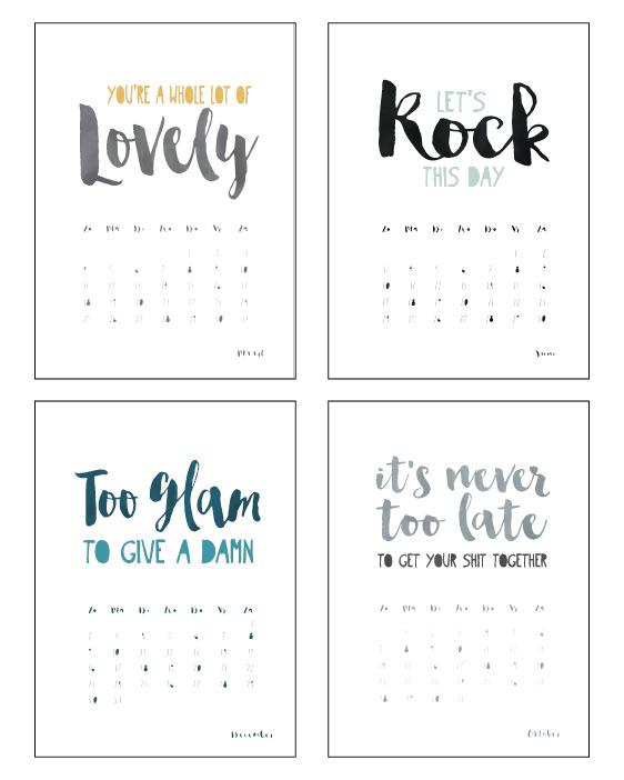 Kalender Quotes 2018 - Hippe trendy maand kalender met stoere korte quotes en citaten in zwart-wit of met kleuraccent