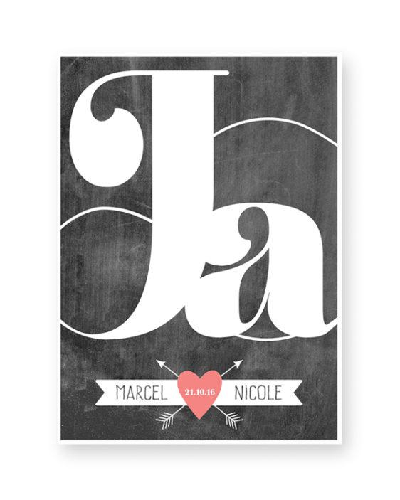 Gepersonaliseerde Trouwposter met namen en trouwdatum. Zwart-Wit Poster met kleur-accent. Zelf online poster maken bij Printcandy