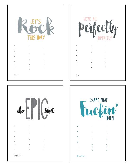 Verjaardagskalender Quotes - Verjaardagskalender maken! - zwart-wit of met kleur accent - A3 en A4 formaat - Printcandy