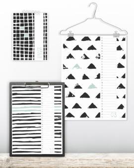 verjaardags kalender zwart-wit patronen - zwart-wit verjaardagskalender met handgetekende zwart-wit patronen. Kalenders zelf maken bij Printcandy