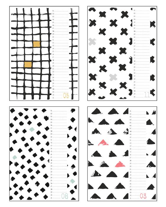 A4 en A3 Verjaardagskalender zwart wit - zwart-wit verjaardagskalender met handgetekende zwart-wit patronen. Kalenders zelf maken bij Printcandy