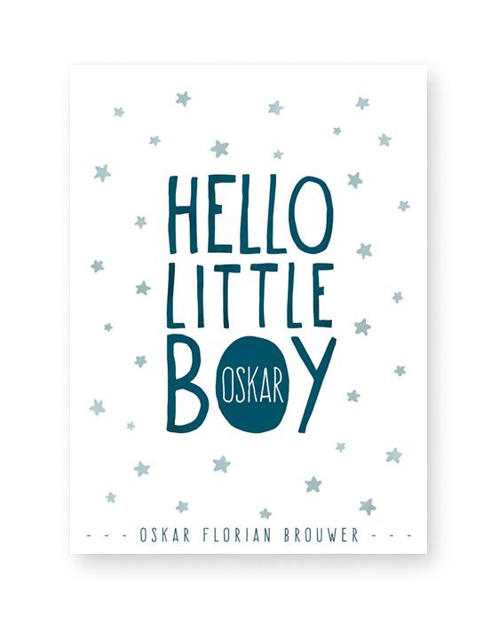 Gepersonaliseerde baby geboorteposter Hello little boy - voor hippe mamas - Printcandy