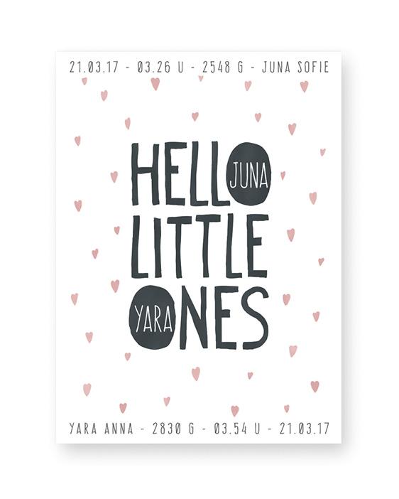 gepersonaliseerde baby geboorteposter Hello little one - baby geboorte kraamcadeau tweeling zwart wit stipjes met kleuraccent - zelf poster maken bij printcandy