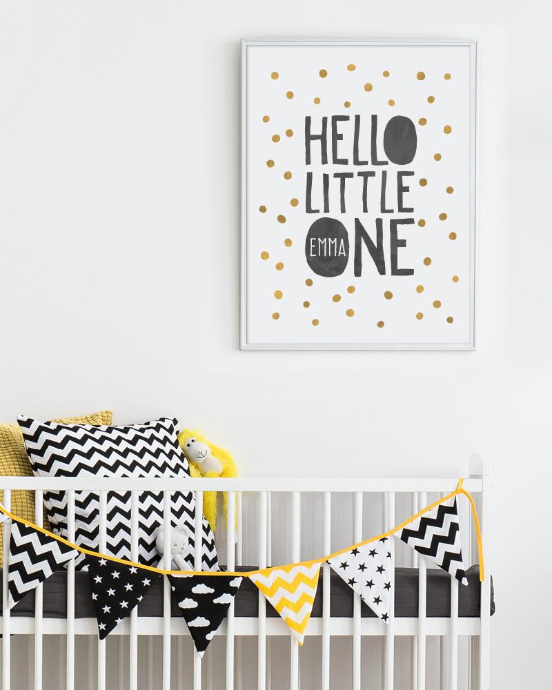 gepersonaliseerde baby geboorteposter Hello little one - baby geboorte kraamcadeau hippe mama's zwart wit stipjes met kleuraccent - zwart wit geboorteposter zelf maken bij printcandy