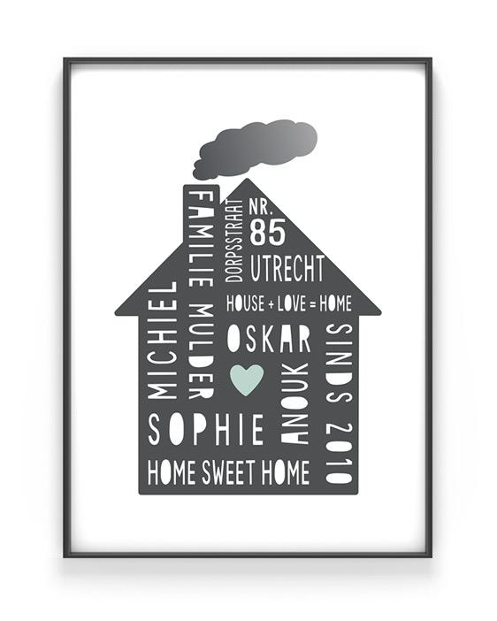 Home Sweet Home Poster - Familie poster met eigen tekst zelf maken bij Printcandy